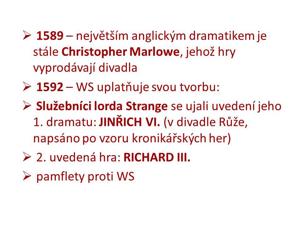  1589 – největším anglickým dramatikem je stále Christopher Marlowe, jehož hry vyprodávají divadla  1592 – WS uplatňuje svou tvorbu:  Služebníci lorda Strange se ujali uvedení jeho 1.