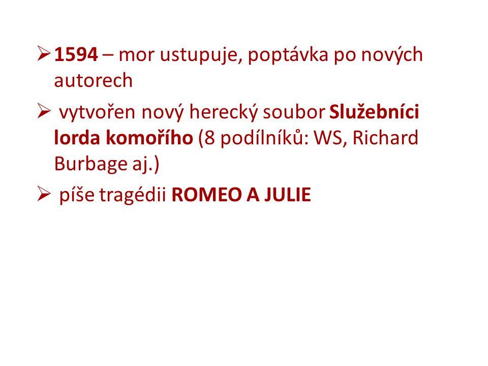  1594 – mor ustupuje, poptávka po nových autorech  vytvořen nový herecký soubor Služebníci lorda komořího (8 podílníků: WS, Richard Burbage aj.)  píše tragédii ROMEO A JULIE