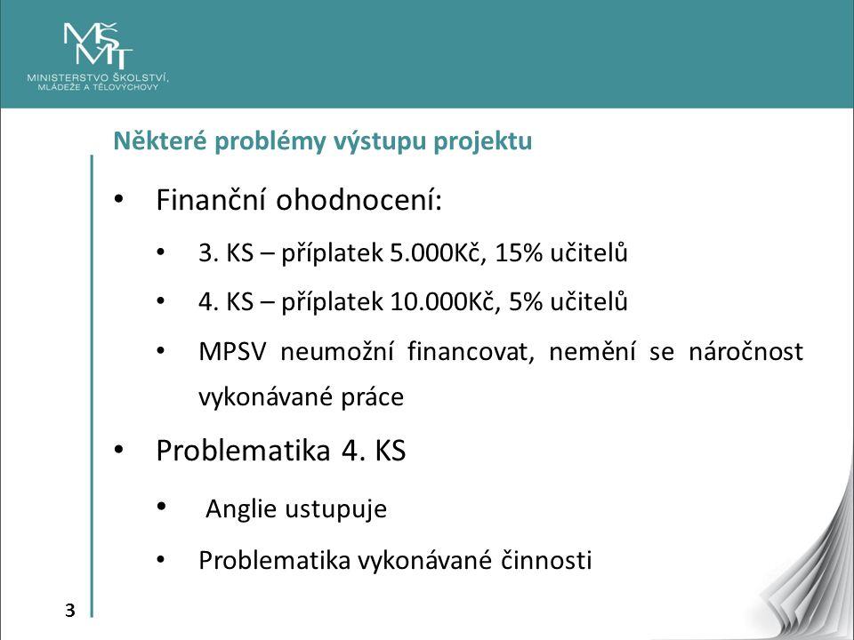 3 Některé problémy výstupu projektu Finanční ohodnocení: 3.