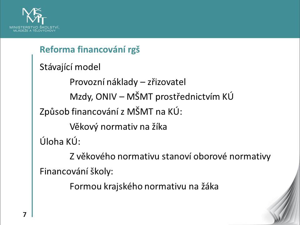 7 Reforma financování rgš Stávající model Provozní náklady – zřizovatel Mzdy, ONIV – MŠMT prostřednictvím KÚ Způsob financování z MŠMT na KÚ: Věkový normativ na žíka Úloha KÚ: Z věkového normativu stanoví oborové normativy Financování školy: Formou krajského normativu na žáka
