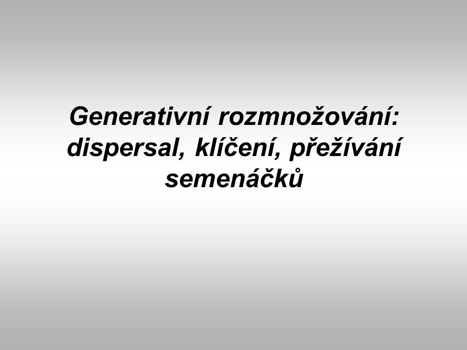 Generativní rozmnožování: dispersal, klíčení, přežívání semenáčků