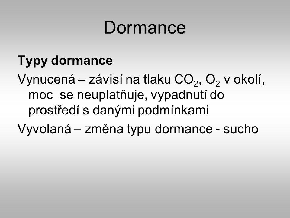 Dormance Typy dormance Vynucená – závisí na tlaku CO 2, O 2 v okolí, moc se neuplatňuje, vypadnutí do prostředí s danými podmínkami Vyvolaná – změna typu dormance - sucho