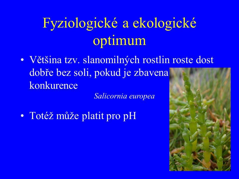 Fyziologické a ekologické optimum Většina tzv. slanomilných rostlin roste dost dobře bez soli, pokud je zbavena konkurence Totéž může platit pro pH Sa