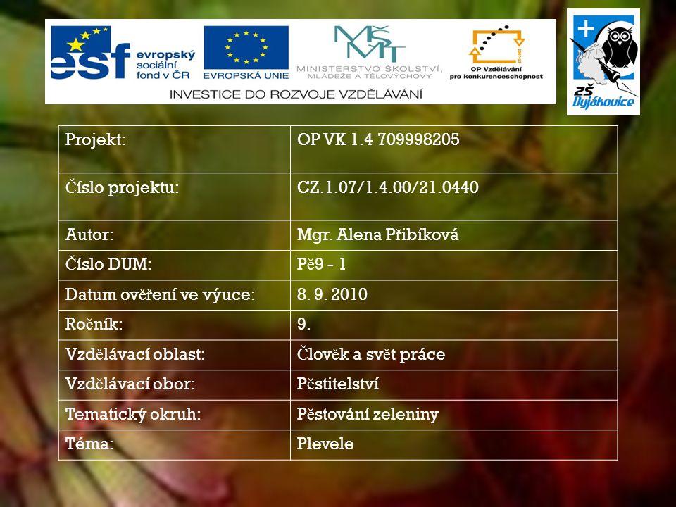 Projekt:OP VK 1.4 709998205 Č íslo projektu:CZ.1.07/1.4.00/21.0440 Autor:Mgr.