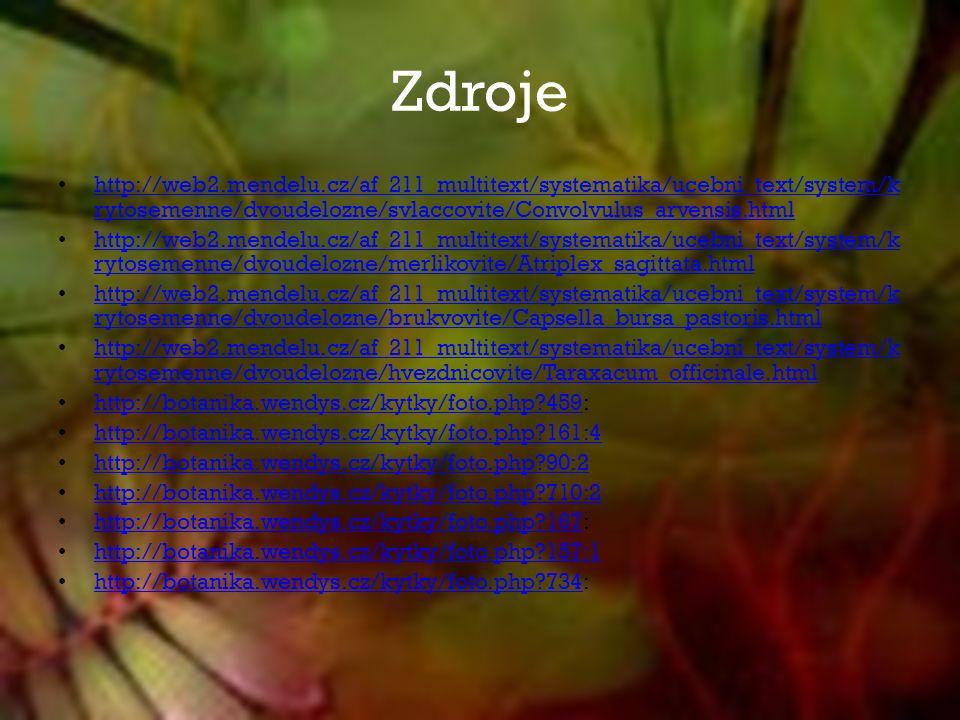 Zdroje http://web2.mendelu.cz/af_211_multitext/systematika/ucebni_text/system/k rytosemenne/dvoudelozne/svlaccovite/Convolvulus_arvensis.html http://web2.mendelu.cz/af_211_multitext/systematika/ucebni_text/system/k rytosemenne/dvoudelozne/svlaccovite/Convolvulus_arvensis.html http://web2.mendelu.cz/af_211_multitext/systematika/ucebni_text/system/k rytosemenne/dvoudelozne/merlikovite/Atriplex_sagittata.html http://web2.mendelu.cz/af_211_multitext/systematika/ucebni_text/system/k rytosemenne/dvoudelozne/merlikovite/Atriplex_sagittata.html http://web2.mendelu.cz/af_211_multitext/systematika/ucebni_text/system/k rytosemenne/dvoudelozne/brukvovite/Capsella_bursa_pastoris.html http://web2.mendelu.cz/af_211_multitext/systematika/ucebni_text/system/k rytosemenne/dvoudelozne/brukvovite/Capsella_bursa_pastoris.html http://web2.mendelu.cz/af_211_multitext/systematika/ucebni_text/system/k rytosemenne/dvoudelozne/hvezdnicovite/Taraxacum_officinale.html http://web2.mendelu.cz/af_211_multitext/systematika/ucebni_text/system/k rytosemenne/dvoudelozne/hvezdnicovite/Taraxacum_officinale.html http://botanika.wendys.cz/kytky/foto.php 459: http://botanika.wendys.cz/kytky/foto.php 459 http://botanika.wendys.cz/kytky/foto.php 161:4 http://botanika.wendys.cz/kytky/foto.php 90:2 http://botanika.wendys.cz/kytky/foto.php 710:2 http://botanika.wendys.cz/kytky/foto.php 167: http://botanika.wendys.cz/kytky/foto.php 167 http://botanika.wendys.cz/kytky/foto.php 157:1 http://botanika.wendys.cz/kytky/foto.php 734: http://botanika.wendys.cz/kytky/foto.php 734