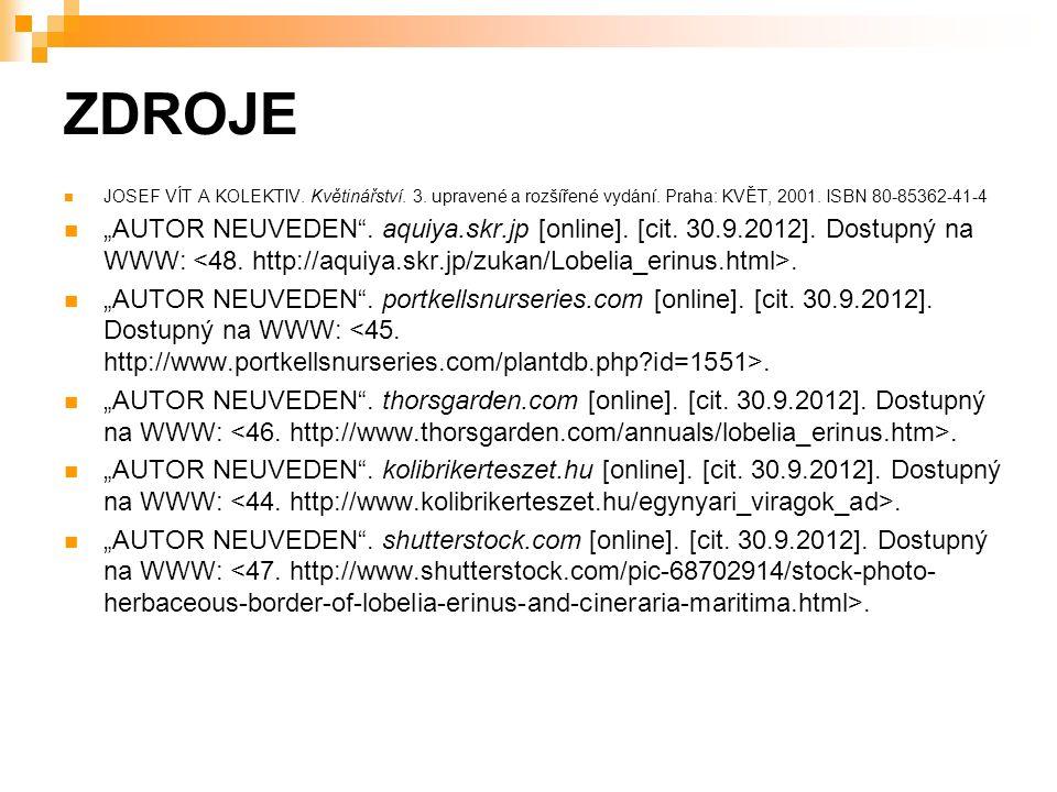 ZDROJE JOSEF VÍT A KOLEKTIV. Květinářství. 3. upravené a rozšířené vydání.