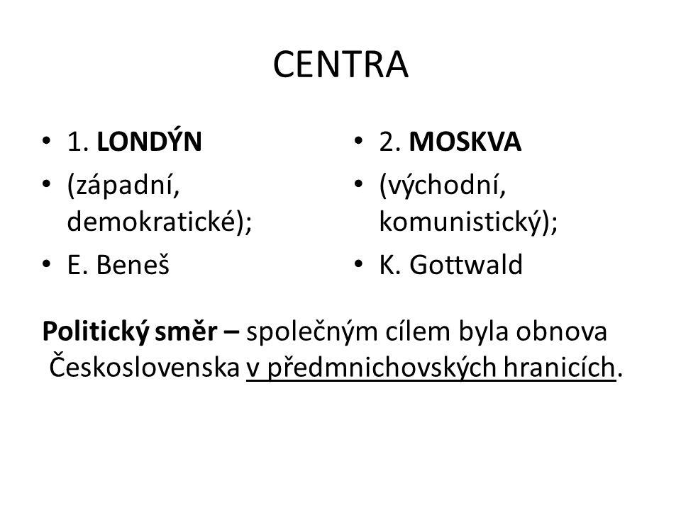 CENTRA 1. LONDÝN (západní, demokratické); E. Beneš 2. MOSKVA (východní, komunistický); K. Gottwald Politický směr – společným cílem byla obnova Českos