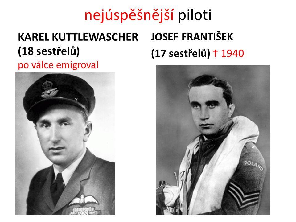 nejúspěšnější piloti KAREL KUTTLEWASCHER (18 sestřelů) po válce emigroval JOSEF FRANTIŠEK (17 sestřelů) Ϯ 1940