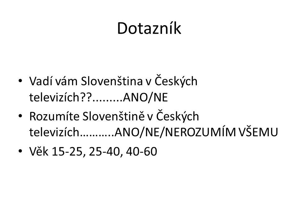 Dotazník Vadí vám Slovenština v Českých televizích??.........ANO/NE Rozumíte Slovenštině v Českých televizích………..ANO/NE/NEROZUMÍM VŠEMU Věk 15-25, 25-40, 40-60
