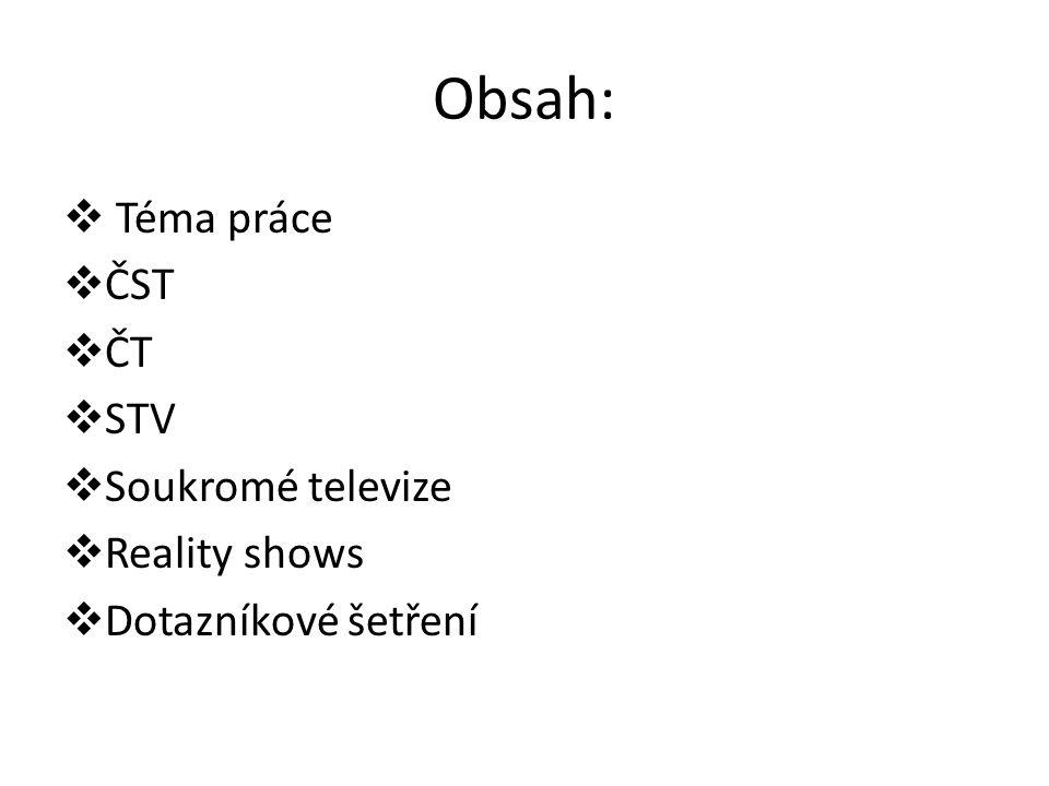 Obsah:  Téma práce  ČST  ČT  STV  Soukromé televize  Reality shows  Dotazníkové šetření