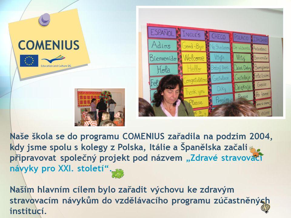 """Naše škola se do programu COMENIUS zařadila na podzim 2004, kdy jsme spolu s kolegy z Polska, Itálie a Španělska začali připravovat společný projekt pod názvem """"Zdravé stravovací návyky pro XXI."""