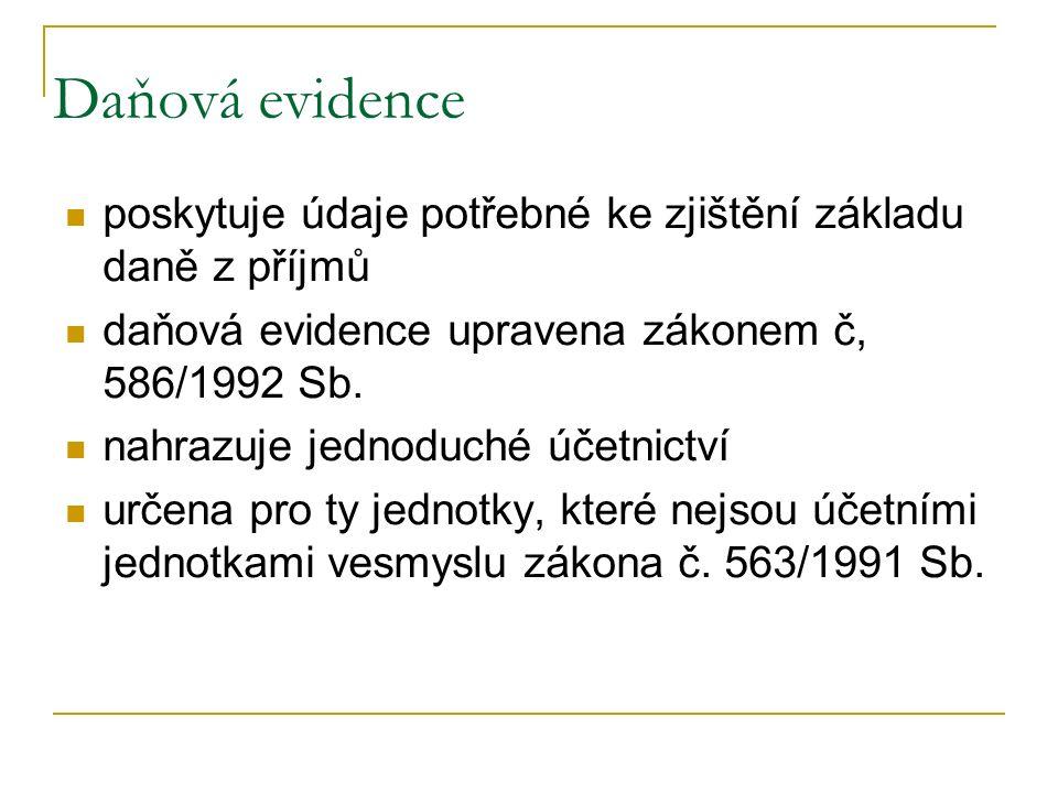 Daňová evidence poskytuje údaje potřebné ke zjištění základu daně z příjmů daňová evidence upravena zákonem č, 586/1992 Sb. nahrazuje jednoduché účetn