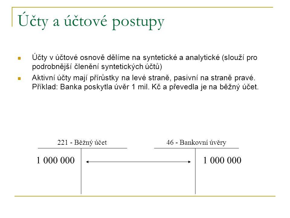 Účty a účtové postupy Účty v účtové osnově dělíme na syntetické a analytické (slouží pro podrobnější členění syntetických účtů) Aktivní účty mají přír