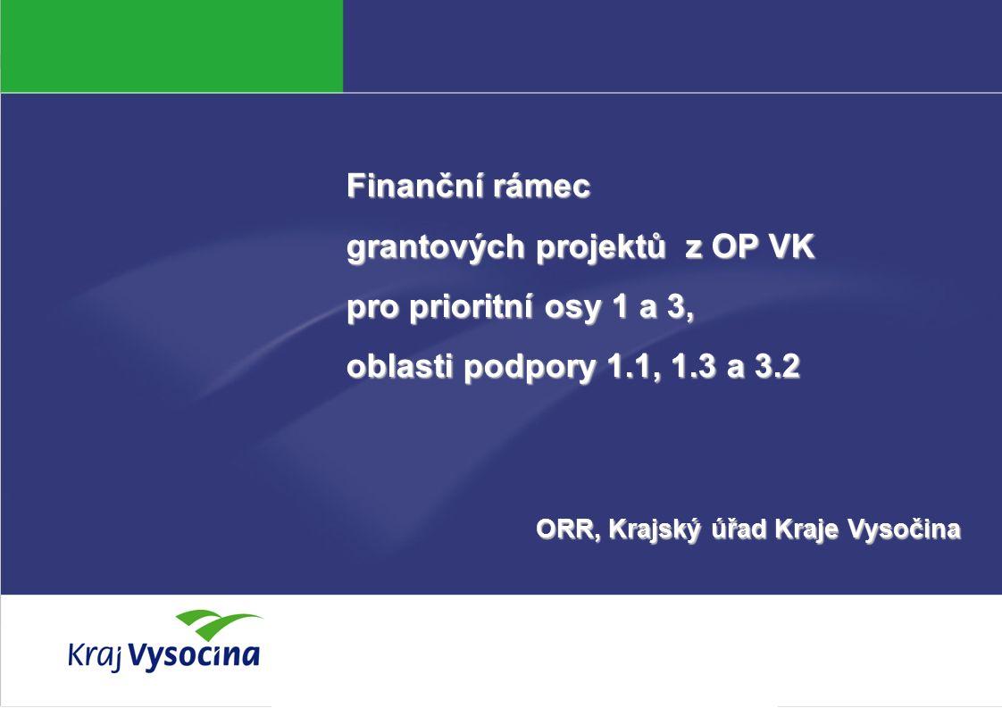Veronika Kamenická Finanční rámec grantových projektů z OP VK pro prioritní osy 1 a 3, oblasti podpory 1.1, 1.3 a 3.2 ORR, Krajský úřad Kraje Vysočina