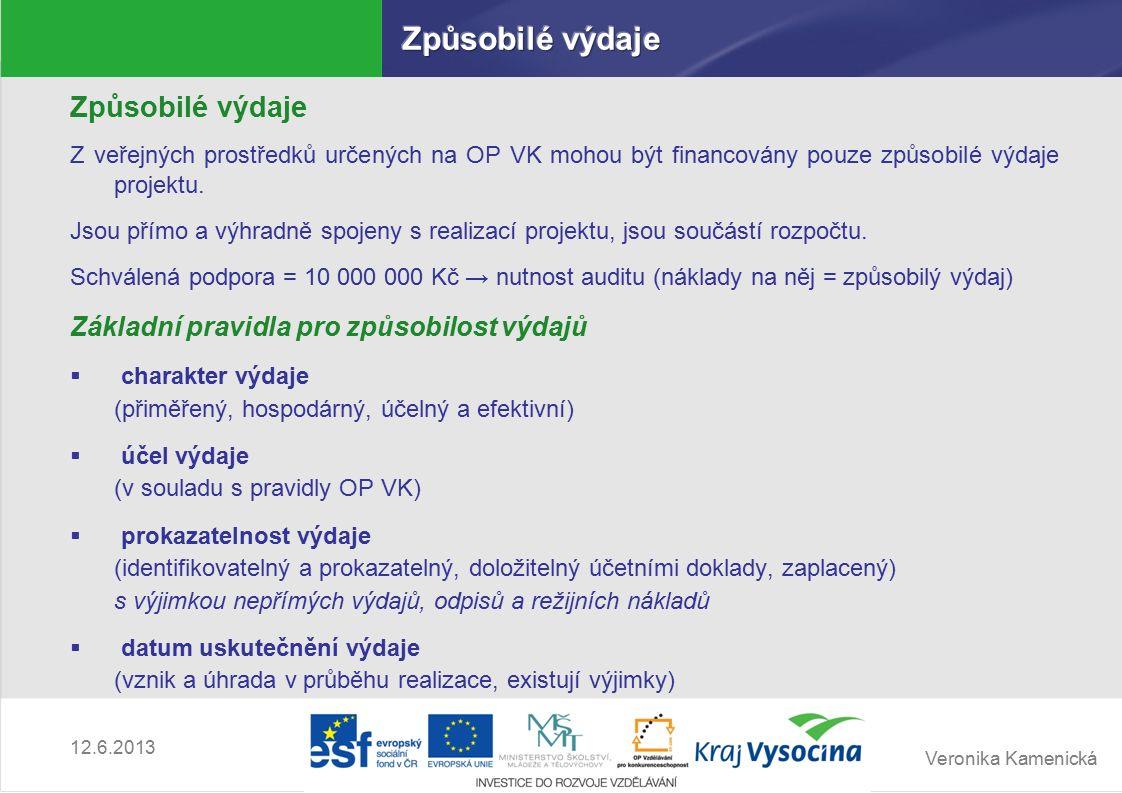 Veronika Kamenická 12.6.2013 Způsobilé výdaje Z veřejných prostředků určených na OP VK mohou být financovány pouze způsobilé výdaje projektu.