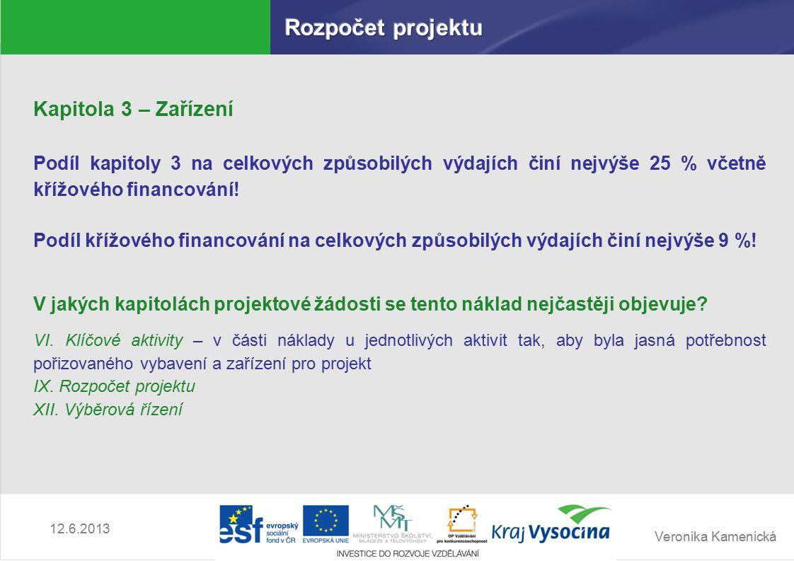 Veronika Kamenická 12.6.2013 Kapitola 3 – Zařízení Podíl kapitoly 3 na celkových způsobilých výdajích činí nejvýše 25 % včetně křížového financování.