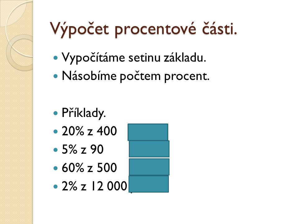 Výpočet procentové části. Vypočítáme setinu základu.