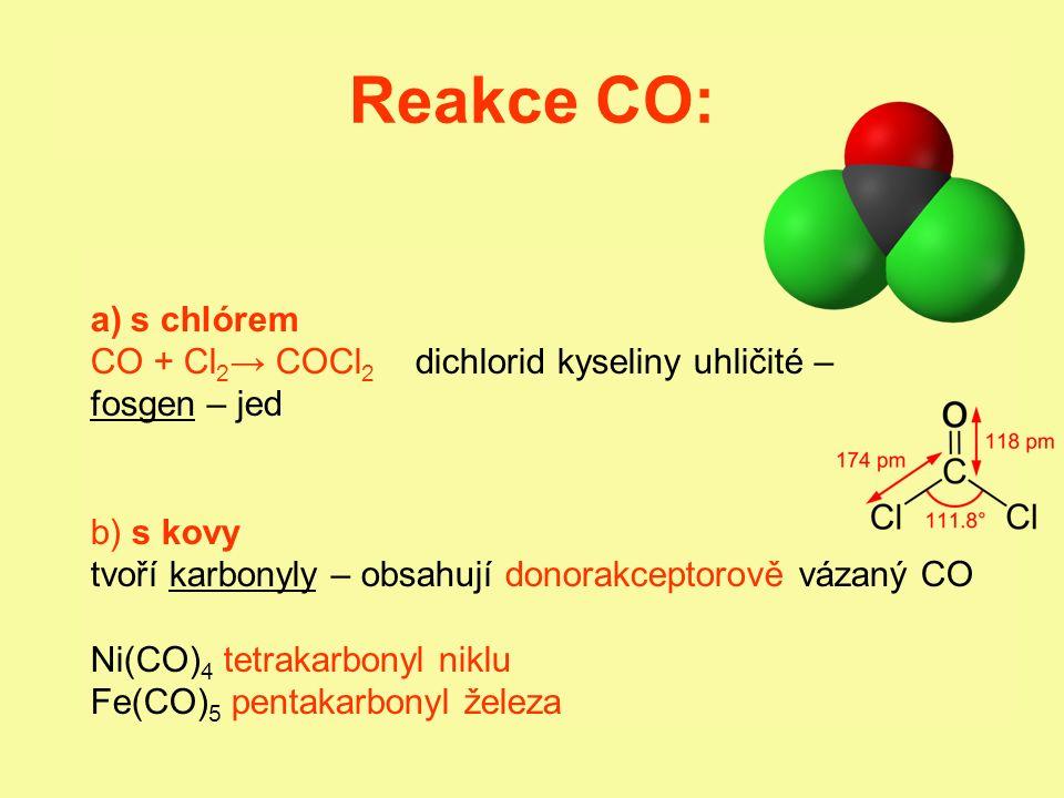 Reakce CO: a)s chlórem CO + Cl 2 → COCl 2 dichlorid kyseliny uhličité – fosgen – jed b) s kovy tvoří karbonyly – obsahují donorakceptorově vázaný CO N