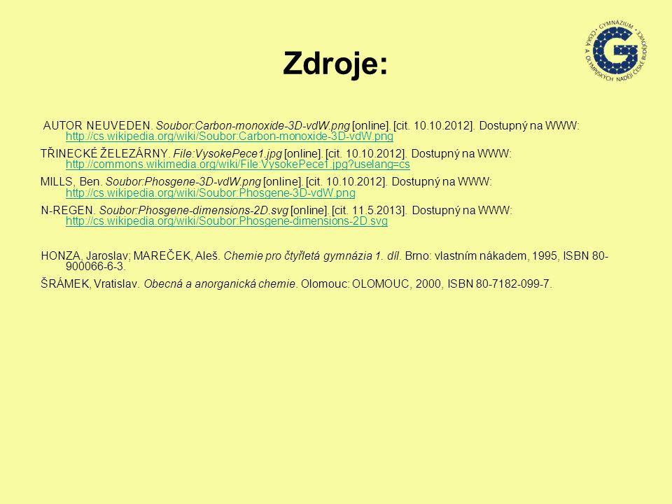 Zdroje: AUTOR NEUVEDEN. Soubor:Carbon-monoxide-3D-vdW.png [online]. [cit. 10.10.2012]. Dostupný na WWW: http://cs.wikipedia.org/wiki/Soubor:Carbon-mon