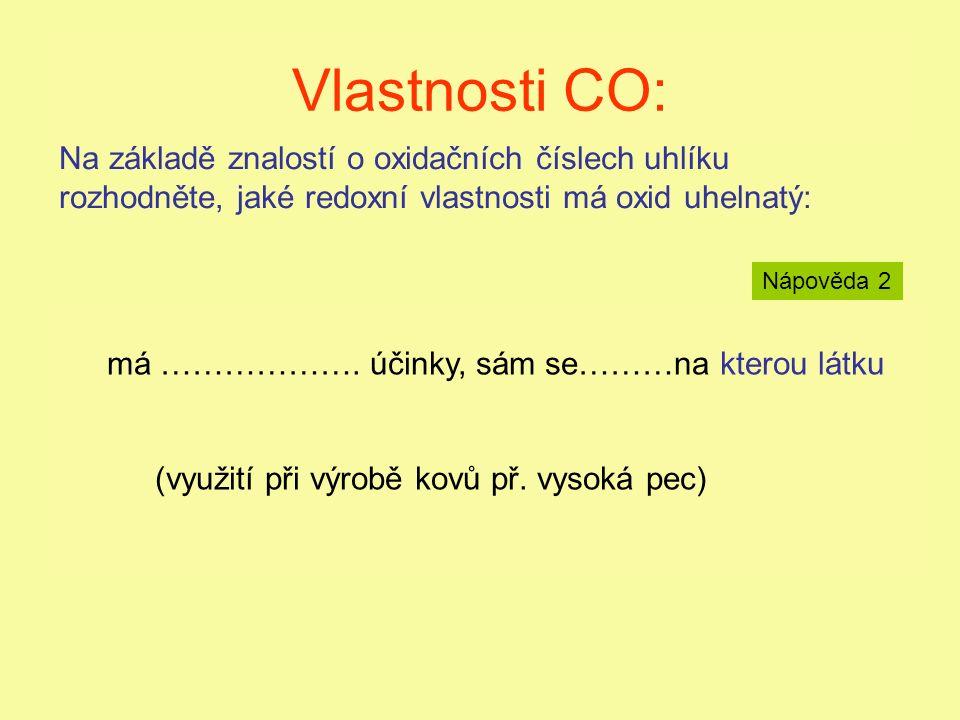 Vlastnosti CO: má redukční účinky, sám se oxiduje na CO 2 (využití při výrobě kovů, př. vysoká pec)