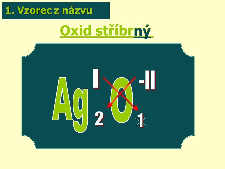 Oxid stříbrný ný 1. Vzorec z názvu