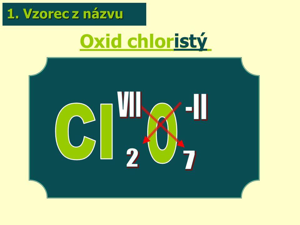 Oxid chloristý istý 1. Vzorec z názvu