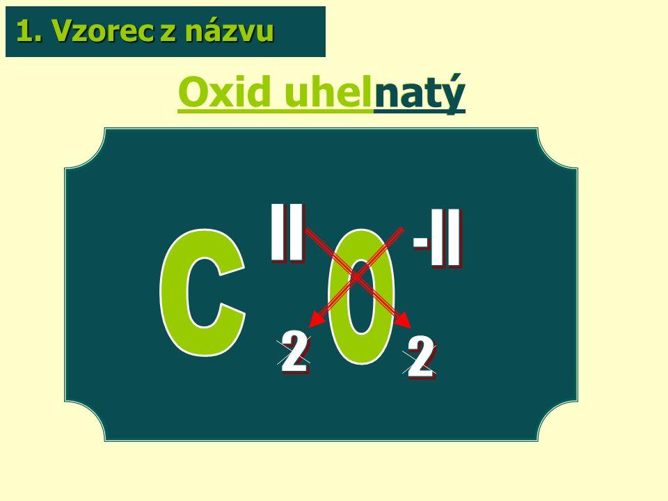 Oxid uhelnatý natý 1. Vzorec z názvu