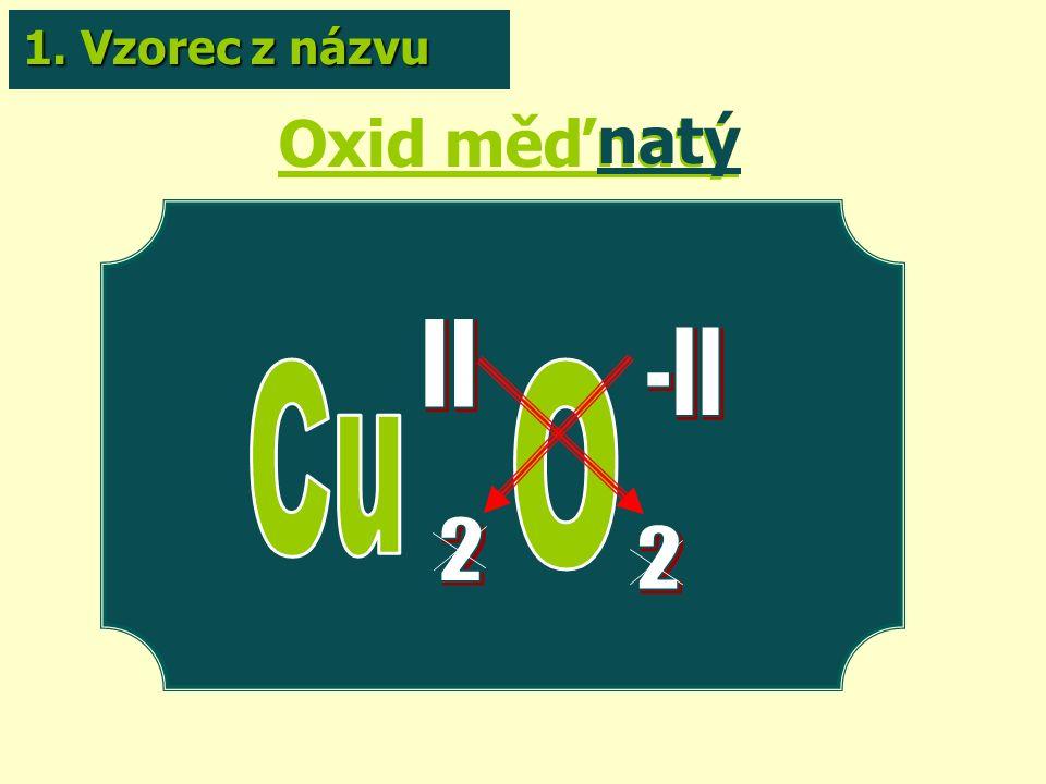 Oxid měďnatý natý 1. Vzorec z názvu