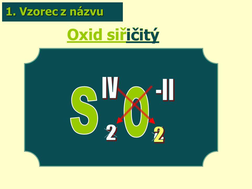 Oxid siřičitý ičitý 1. Vzorec z názvu