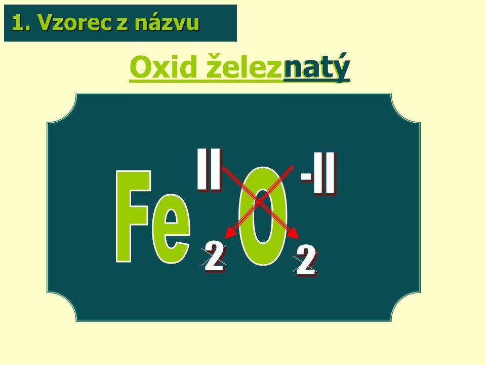 Oxid železnatý natý 1. Vzorec z názvu