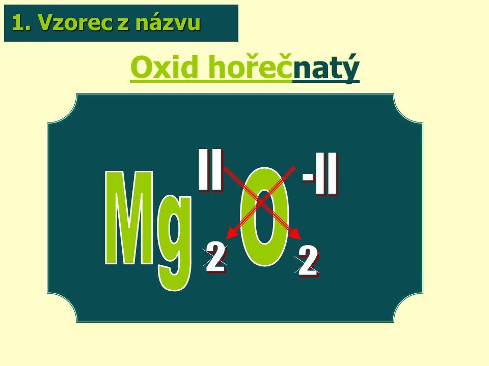 Oxid hořečnatý natý 1. Vzorec z názvu