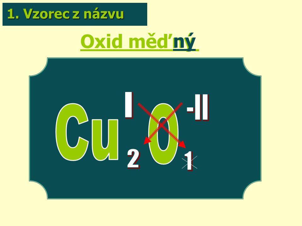 Oxid měďný ný 1. Vzorec z názvu