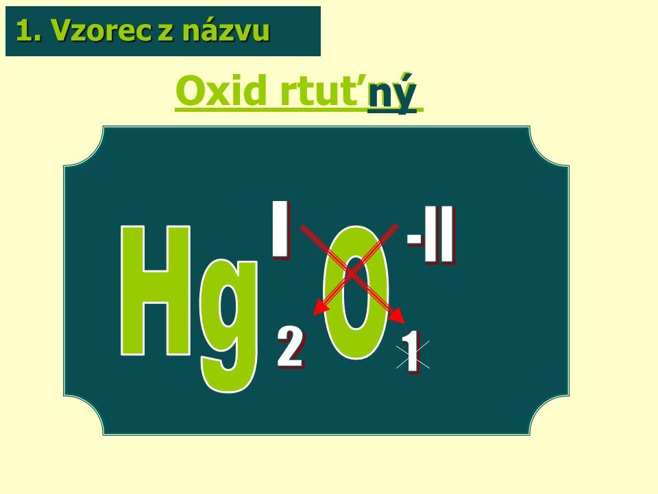 Oxid rtuťný ný 1. Vzorec z názvu