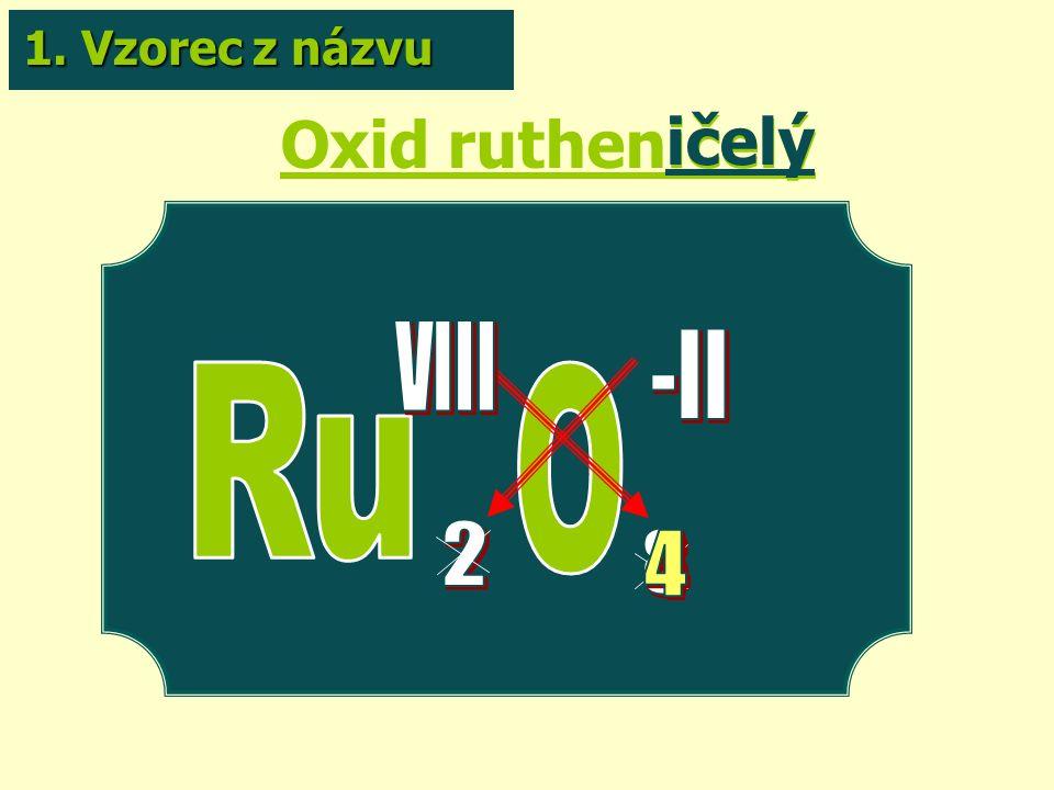 Oxid rutheničelý ičelý 1. Vzorec z názvu