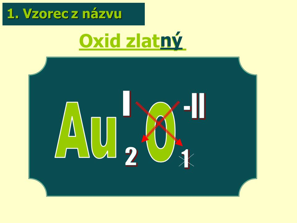 Oxid zlatný ný 1. Vzorec z názvu