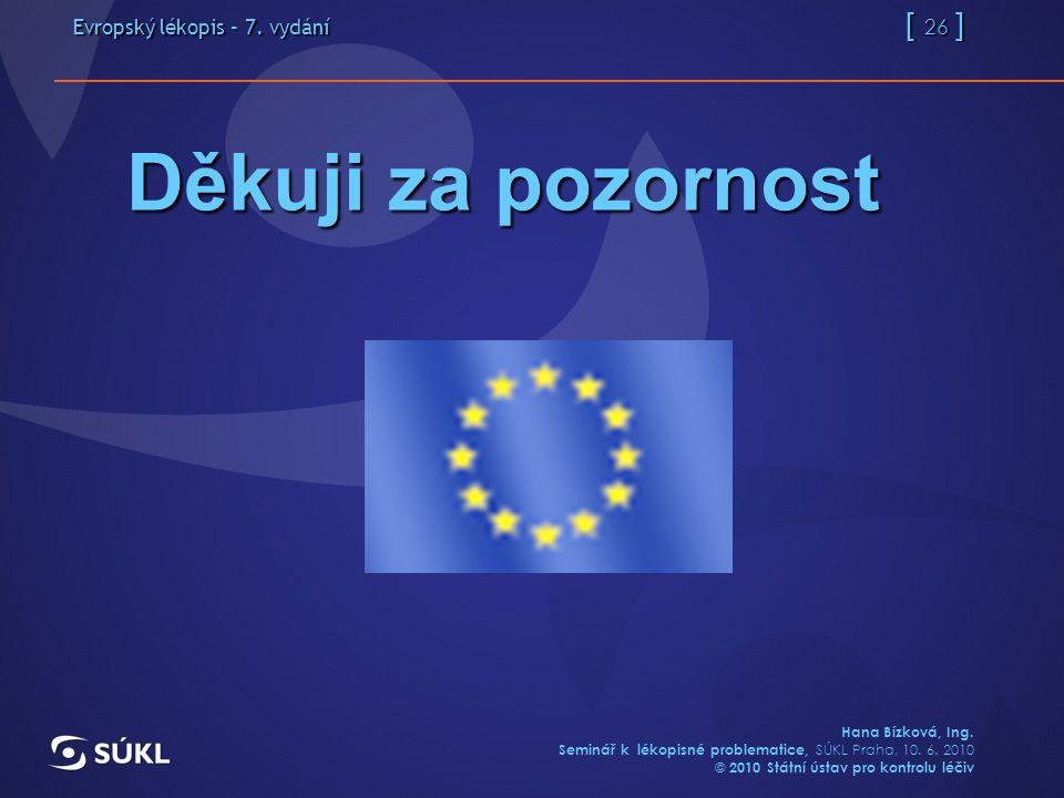 Evropský lékopis – 7. vydání [ 26 ] Hana Bízková, Ing.
