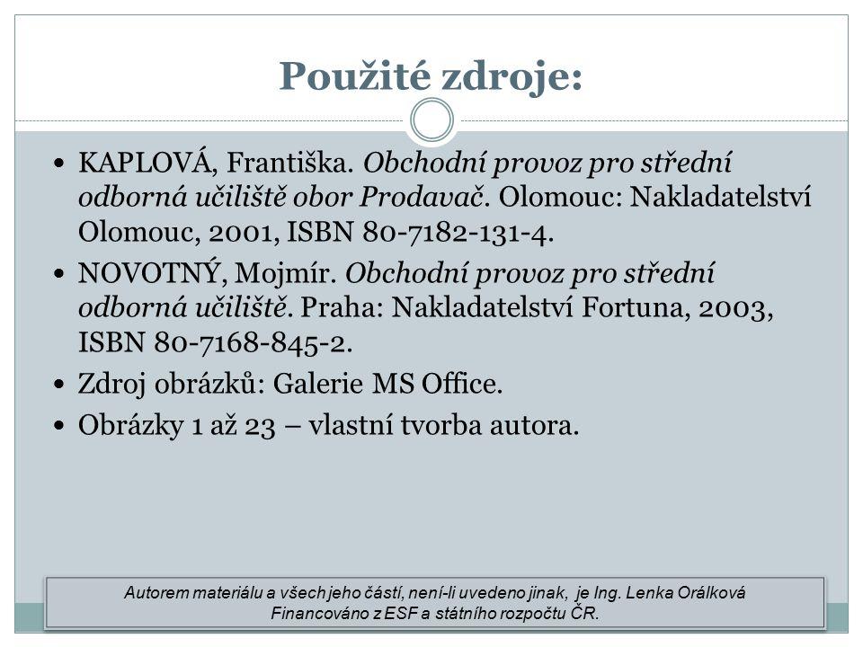 KAPLOVÁ, Františka. Obchodní provoz pro střední odborná učiliště obor Prodavač.
