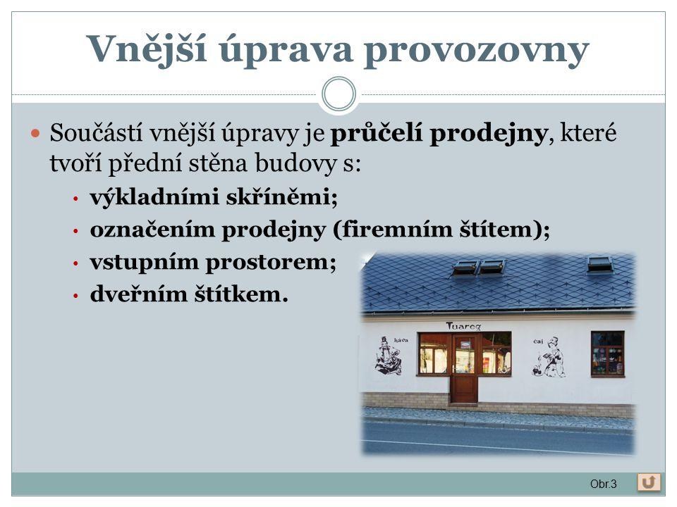 Vnější úprava provozovny Součástí vnější úpravy je průčelí prodejny, které tvoří přední stěna budovy s: výkladními skříněmi; označením prodejny (firemním štítem); vstupním prostorem; dveřním štítkem.