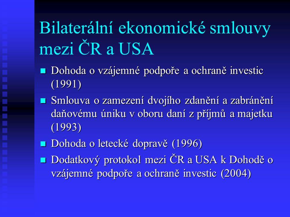 Bilaterální ekonomické smlouvy mezi ČR a USA Dohoda o vzájemné podpoře a ochraně investic (1991) Dohoda o vzájemné podpoře a ochraně investic (1991) Smlouva o zamezení dvojího zdanění a zabránění daňovému úniku v oboru daní z příjmů a majetku (1993) Smlouva o zamezení dvojího zdanění a zabránění daňovému úniku v oboru daní z příjmů a majetku (1993) Dohoda o letecké dopravě (1996) Dohoda o letecké dopravě (1996) Dodatkový protokol mezi ČR a USA k Dohodě o vzájemné podpoře a ochraně investic (2004) Dodatkový protokol mezi ČR a USA k Dohodě o vzájemné podpoře a ochraně investic (2004)