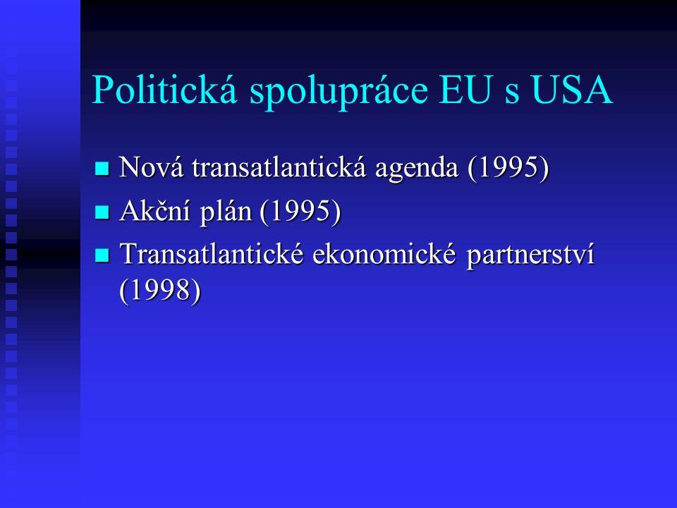 Politická spolupráce EU s USA Nová transatlantická agenda (1995) Nová transatlantická agenda (1995) Akční plán (1995) Akční plán (1995) Transatlantické ekonomické partnerství (1998) Transatlantické ekonomické partnerství (1998)