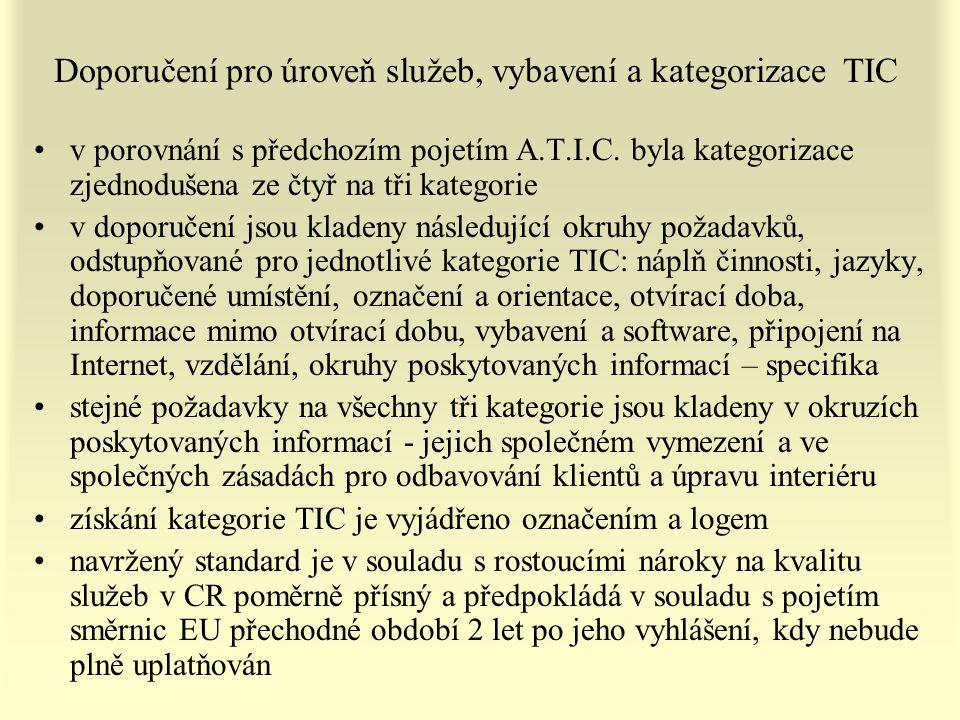 Doporučení pro úroveň služeb, vybavení a kategorizace TIC v porovnání s předchozím pojetím A.T.I.C. byla kategorizace zjednodušena ze čtyř na tři kate
