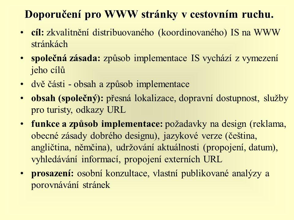 Doporučení pro WWW stránky v cestovním ruchu. cíl: zkvalitnění distribuovaného (koordinovaného) IS na WWW stránkách společná zásada: způsob implementa