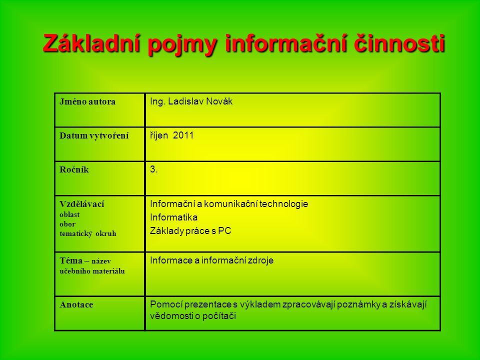 Základní pojmy informační činnosti Jméno autora Ing.