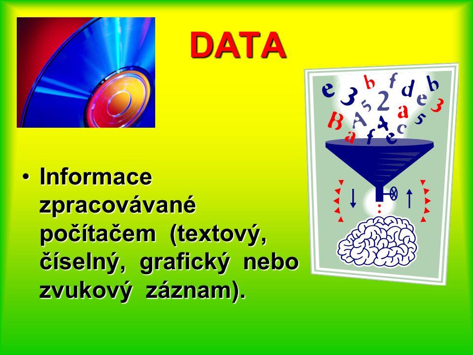 DATA Informace zpracovávané počítačem (textový, číselný, grafický nebo zvukový záznam).Informace zpracovávané počítačem (textový, číselný, grafický ne