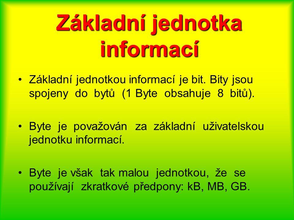 Základní jednotka informací Základní jednotkou informací je bit. Bity jsou spojeny do bytů (1 Byte obsahuje 8 bitů). Byte je považován za základní uži