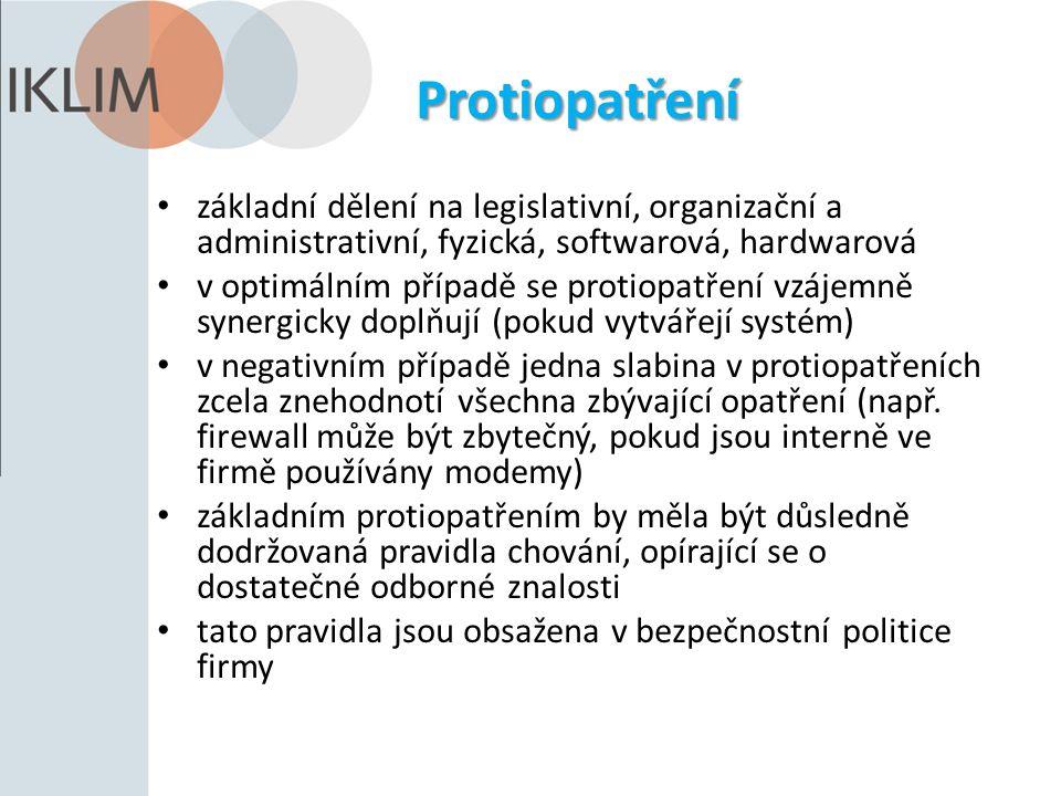 Protiopatření základní dělení na legislativní, organizační a administrativní, fyzická, softwarová, hardwarová v optimálním případě se protiopatření vz
