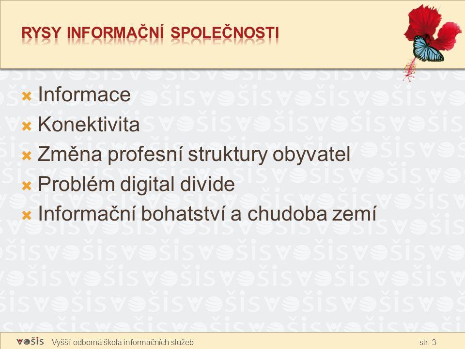 Vyšší odborná škola informačních služeb str. 3  Informace  Konektivita  Změna profesní struktury obyvatel  Problém digital divide  Informační boh