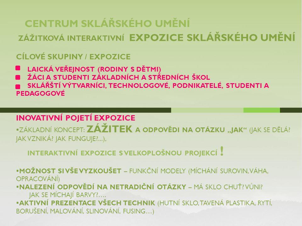 CENTRUM SKLÁŘSKÉHO UMĚNÍ ZÁŽITKOVÁ INTERAKTIVNÍ EXPOZICE SKLÁŘSKÉHO UMĚNÍ CÍLOVÉ SKUPINY / EXPOZICE LAICKÁ VEŘEJNOST (RODINY S DĚTMI) ŽÁCI A STUDENTI