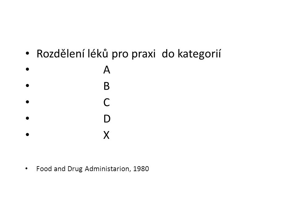 Rozdělení léků pro praxi do kategorií A B C D X Food and Drug Administarion, 1980
