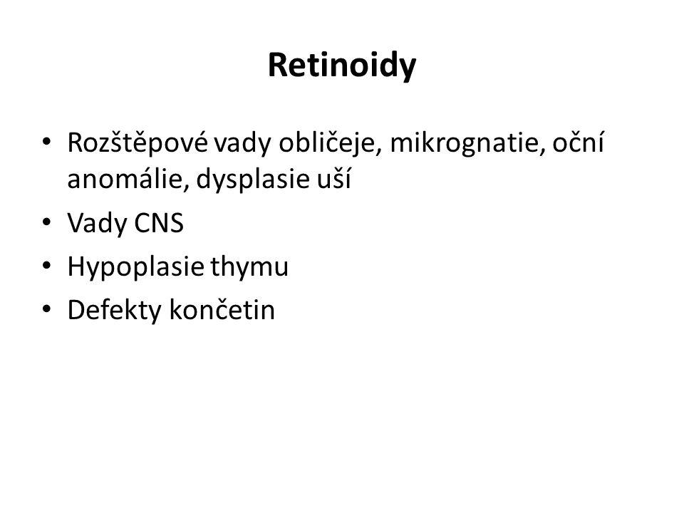 Retinoidy Rozštěpové vady obličeje, mikrognatie, oční anomálie, dysplasie uší Vady CNS Hypoplasie thymu Defekty končetin